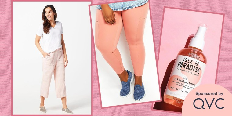 Illustration of QVC products like the Skechers Ultra Flex Flat Washable Knit Slip-On Shoes,Denim & Co. Linen Blend Pull-On Crop Pants with Pockets, Isle of Paradise Self Tanning Water