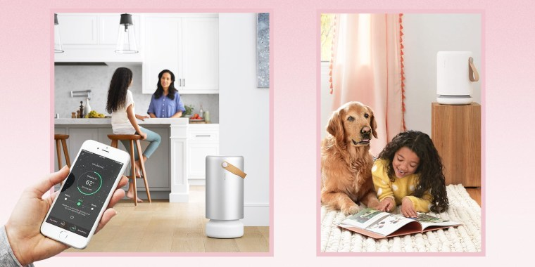 Illustration of a hand controlling a Molekule air purifier with their phone, Mother and daughter sitting in kitchen with their air purifier, and a little girl and her dog playing in her bedroom next to her Air Mini Molekule Air Purifier