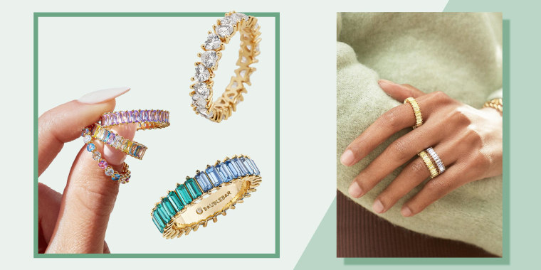 Image of a woman's hand with different styles of the BaubleBar Aldia ring and silhouettes of different styles of the Aldia rings