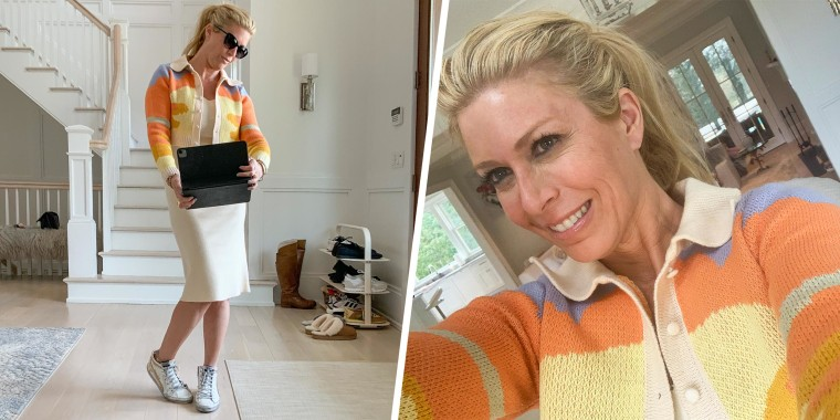 Illustration with two photo's of Jill Martin taking a selfie with her Amazon sweater