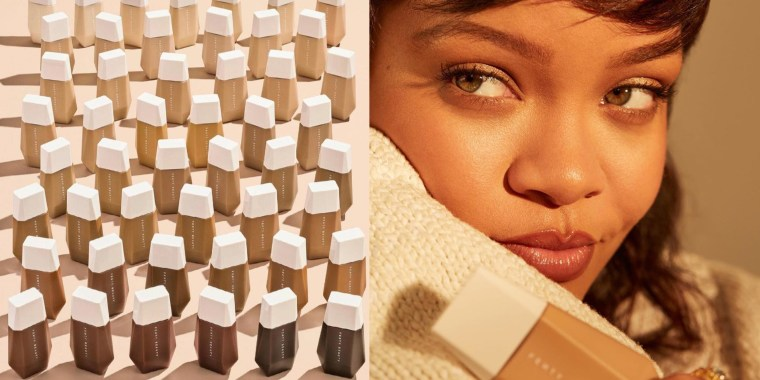 Illustration of Rihanna and her new skin tint drops in all different shades