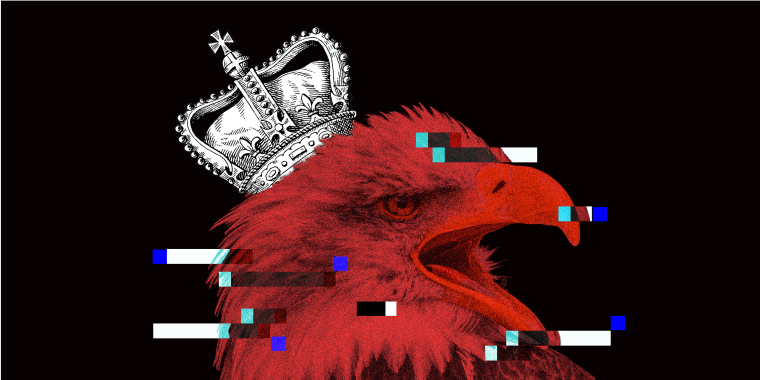 Photo illustration of a royal crown on an eagle's head with glitches over it.