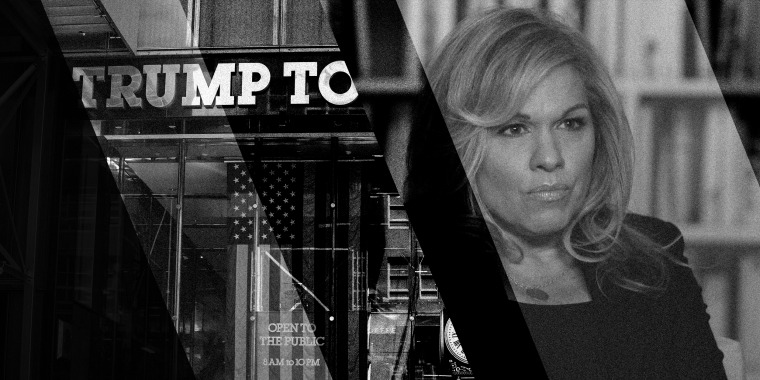 Photo collage with an image of the Trump Tower and a still of Jennifer Weisselberg speaking to NBC News.