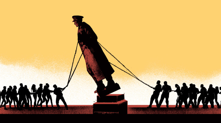 Image: Illustration shows two sets of people attempting to topple a military statue.
