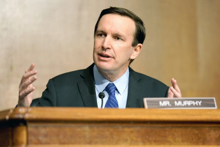 Image: Sen. Chris Murphy, D-Conn., at a confirmation hearing in Washington on March 23, 2021.
