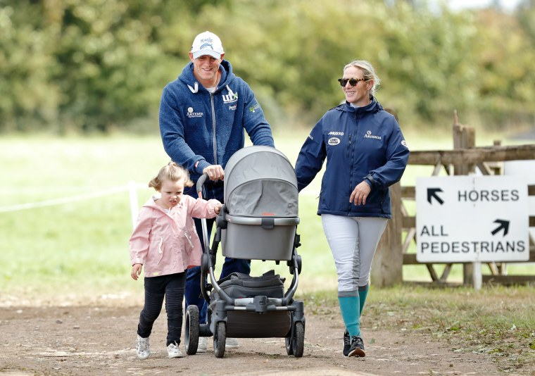 Image: Mike Tindall and Zara Tindall with their daughters Mia and Lena in Stroud, England,