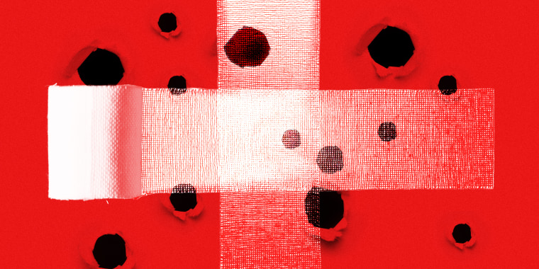 Photo illustration of two bandages crossing each other at the centre, covering a red surface with holes.