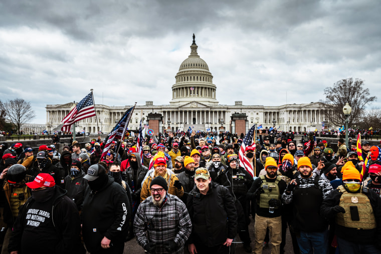Pro-Trump protesters gather in front of the Capitol on Jan. 6, 2021.