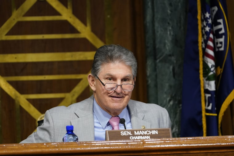 Sen. Joe Manchin, D-W.Va., participates in a hearing on Capitol Hill on March 11, 2021.