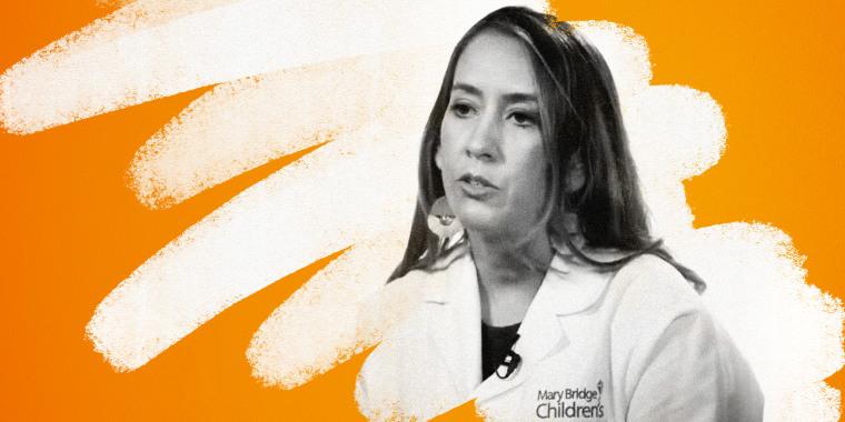 Image: Illustration shows a photo of Dr. Elizabeth Woods being erased.