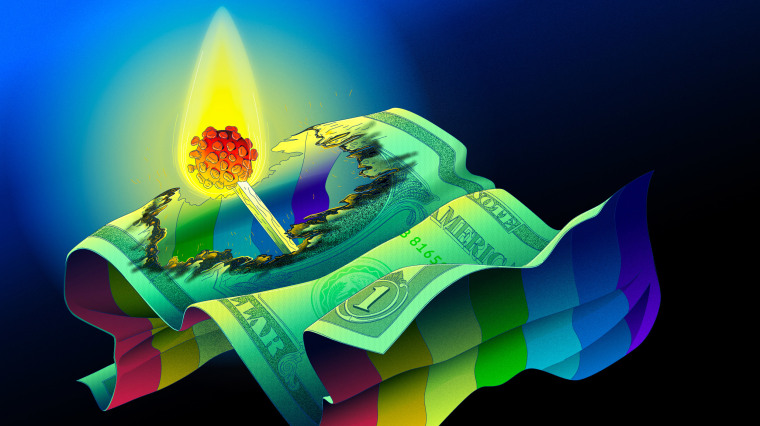 Image: Illustration shows a match with a burning head in the shape of a Covid spore burning through a rainbow dollar bill.