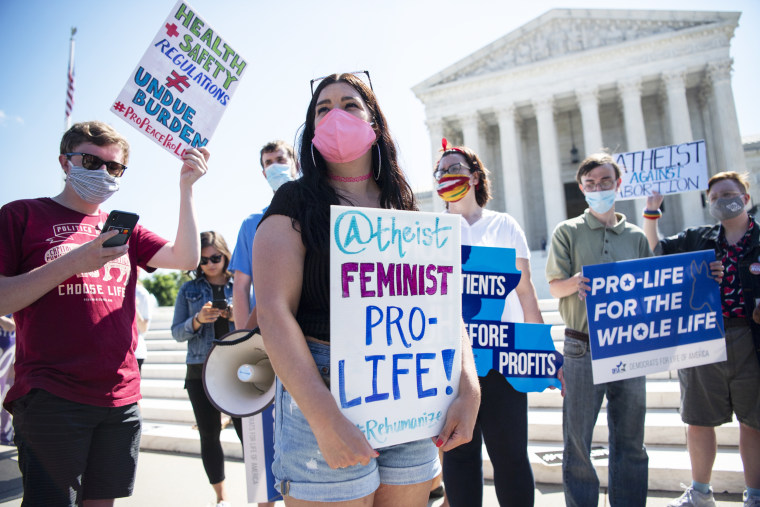 Anti-abortion demonstrators protest in front of the Supreme Court on June 29, 2020.