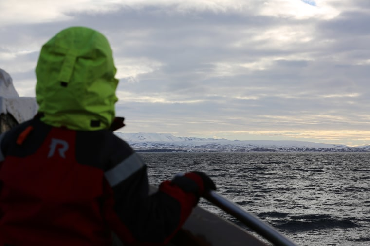 Image:: Captain Heimir Hardarson takes whale watchers out on his boat in Husavik, Iceland.