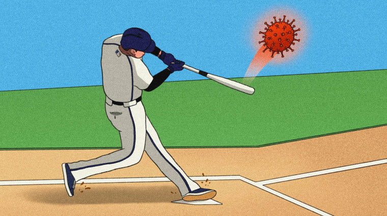 Image: Illustration of a baseball player hitting a large Covid spore with his bat.