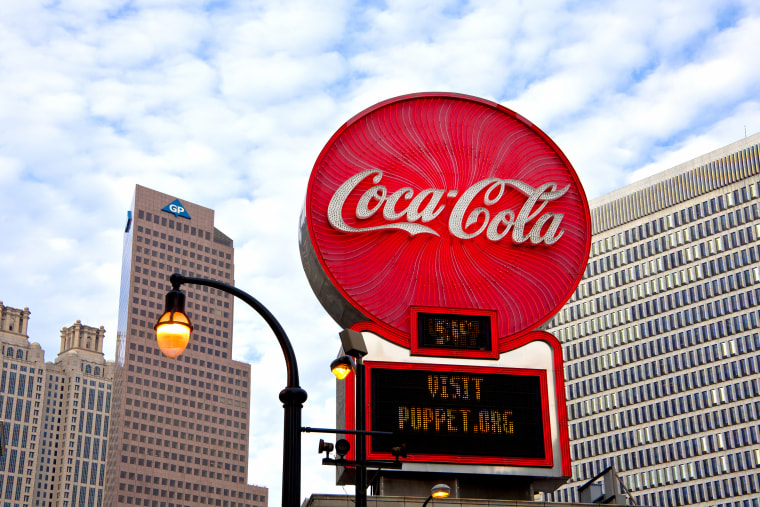 The Coca-Cola sign in downtown Atlanta, one of the cities largest and most well-known companies.