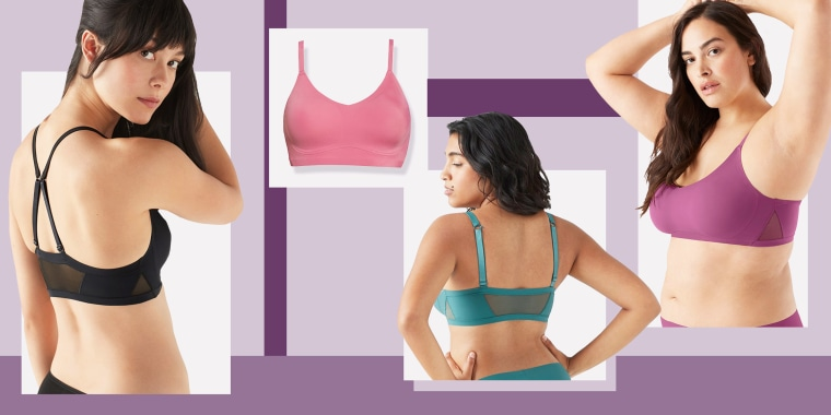 Illustration of the True & Co. True Body Lift Mesh Triangle Bralette in different colors