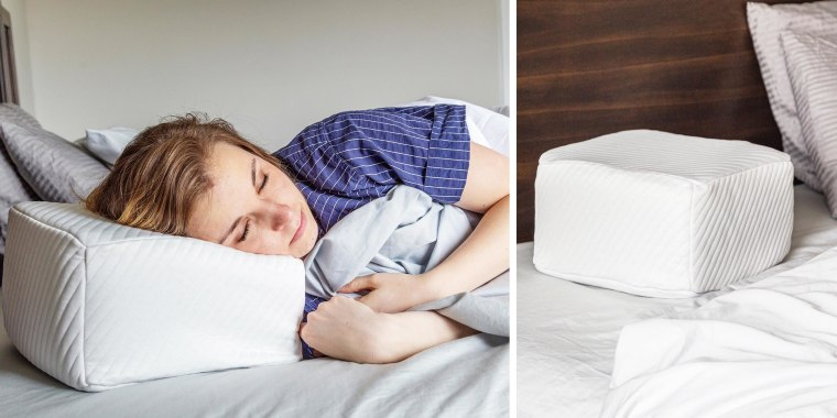 Illustration of a woman in bed, sleeping on her white Pillow Cube, and a white Pillow Cube on an empty bed