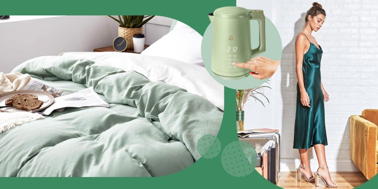 Illustration of a hand holding the One-Touch Electric Kettle in Sage Green by Drew Barrymore, Cowl Neck Slip Dress in evergreen and Bedsure Duvet Cover Queen Size Set with Zipper Closure in green