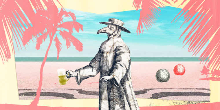 Illustration of pandemic doctor on the beach