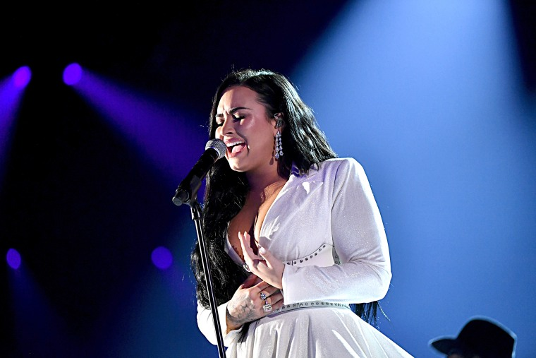 Demi Lovato performs at the 2020 Grammy Awards in Los Angeles.