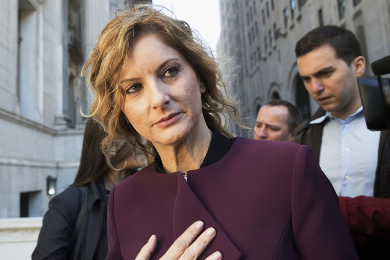 Summer Zervos leaves New York state appellate court on Oct. 18, 2018.