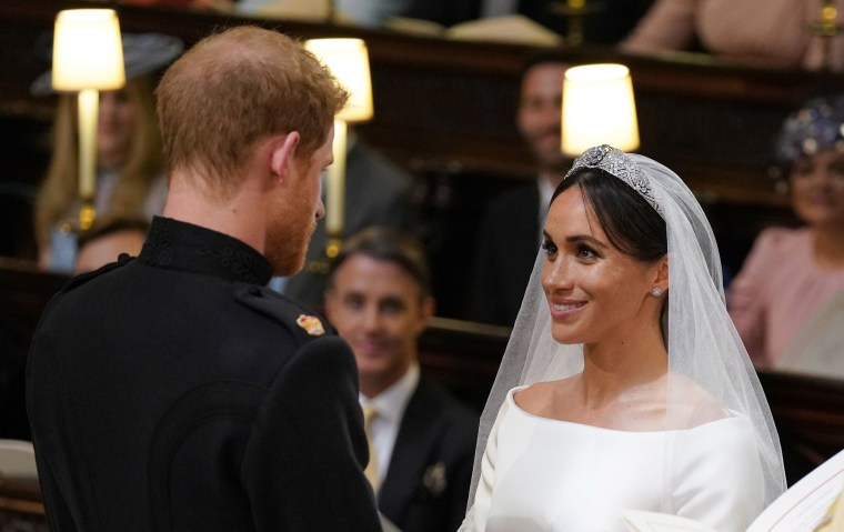 Image: Prince Harry and Meghan Markle during their wedding service, conducted by the Archbishop of Canterbury Justin Welby in St George's Chapel at Windsor Castle