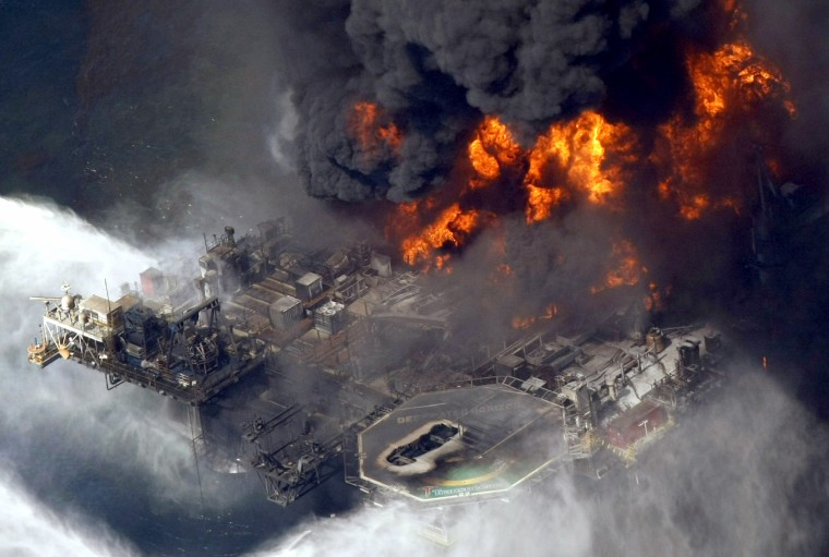 Image: The Deepwater Horizon oil rig burns off the coast of Louisiana on April 21, 2010.
