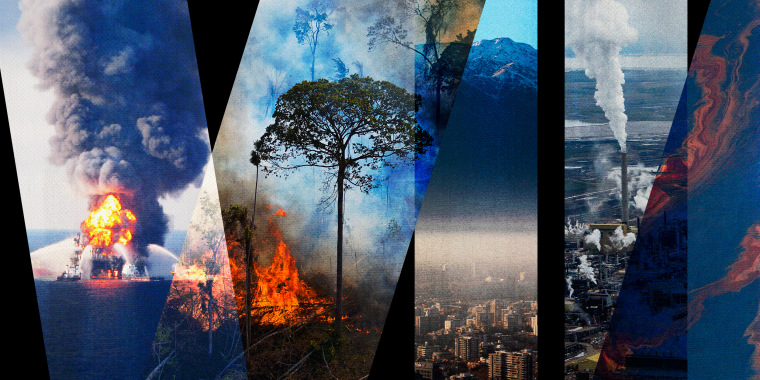 Image: Photo illustration of Deepwater Horizon, Amazon fires, city pollution, ocean oil spill and refinery exhaust.