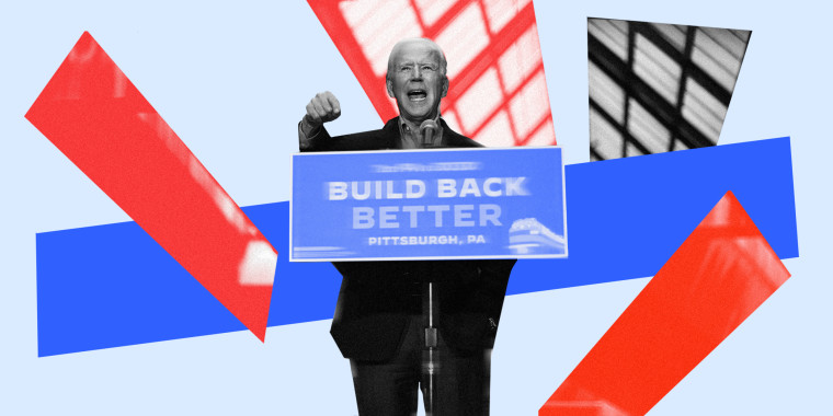 """Photo illustration of President Joe Biden speaking at a podium with a board that reads,\""""Build Back Better\""""."""