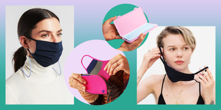 Illustration of a woman wearing a Pav? the Way Seeing is Believing Croakie Necklace mask, a woman wearing a Athleta Mask Lanyard in blue, Rothy's Mask Pocket Set in pink and blue, and someone holding a Dry Element Face Mask Container in pink