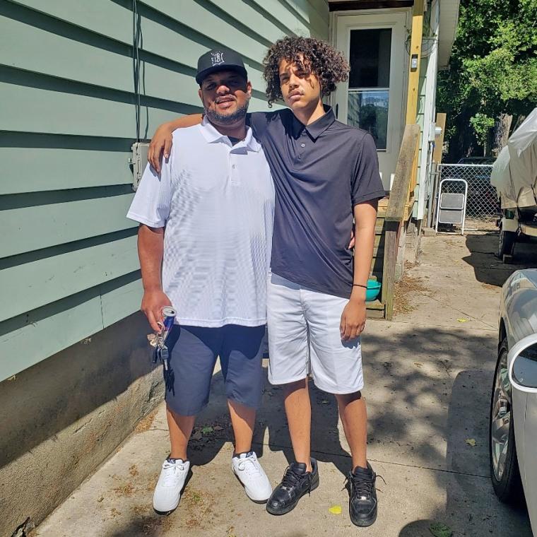 Devin Freelon Jr. with his father, Devin Freelon Sr.