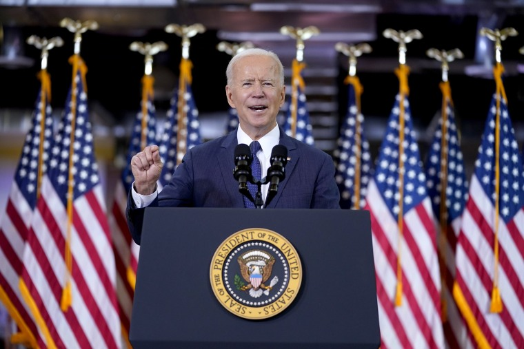 Image: President Joe Biden delivers a speech on infrastructure spending at Carpenters Pittsburgh Training Center on March 31, 2021, in Pittsburgh.