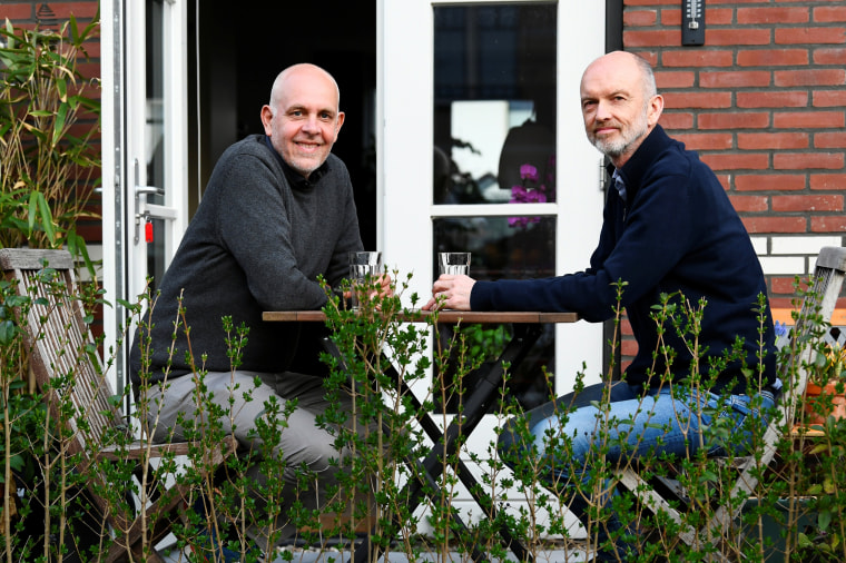 Dutch couple Gert Kasteel and Dolf Pasker talk about their wedding 20 years ago in the world's first legally recognized same-sex wedding in Weesp, Netherlands, on March 31, 2021.