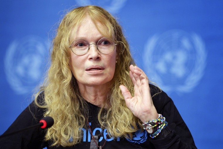 Image: UNICEF Goodwill Ambassador Mia Farrow during a press conference at the European headquarters of the UN in Geneva, on Nov. 14, 2013.