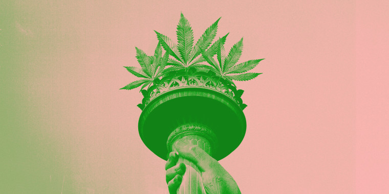 Photo illustration of cannabis leaves sticking out of the Statue of Liberty torch.