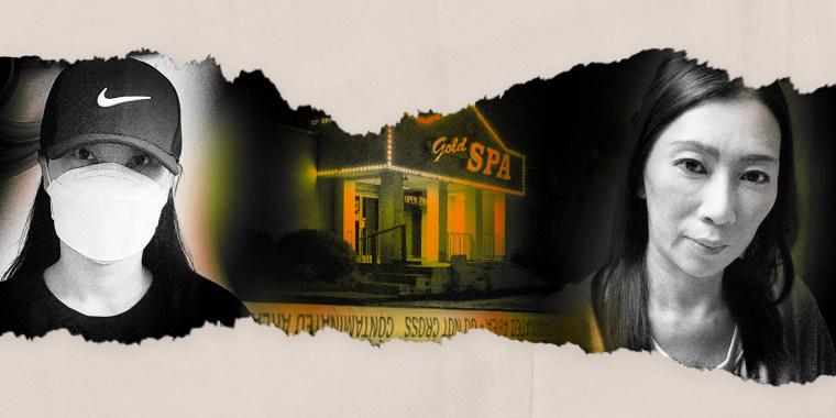 Image: Illustration shows Gold Spa in Atlanta and survivors Eunji Lee and Eun Ja Kang.