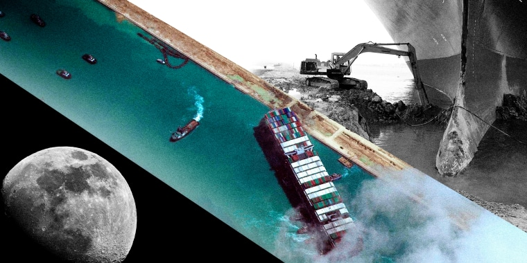 Image: Photo collage of the container ship stuck in the Suez Canal with a photo of the moon and a digger truck.