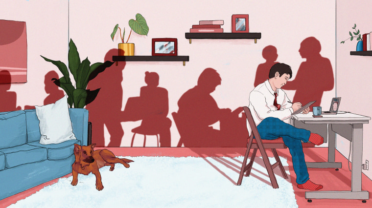 IMage: Illustration of a man working from home at his desk as shadows on the wall show office coworkers.