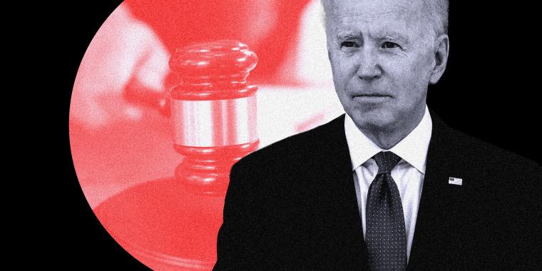 Photo illustration of a hand holding a gavel and U.S. President Joe Biden