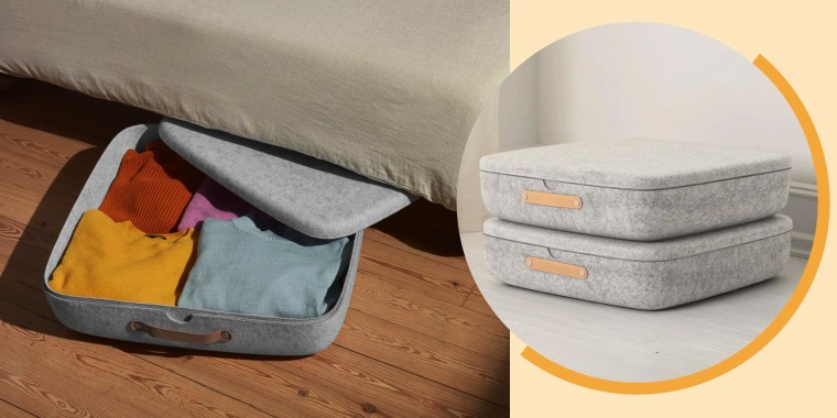Illustration of grey underbed storage filled with clothes and a stack of 2 bins from Get Open Spaces