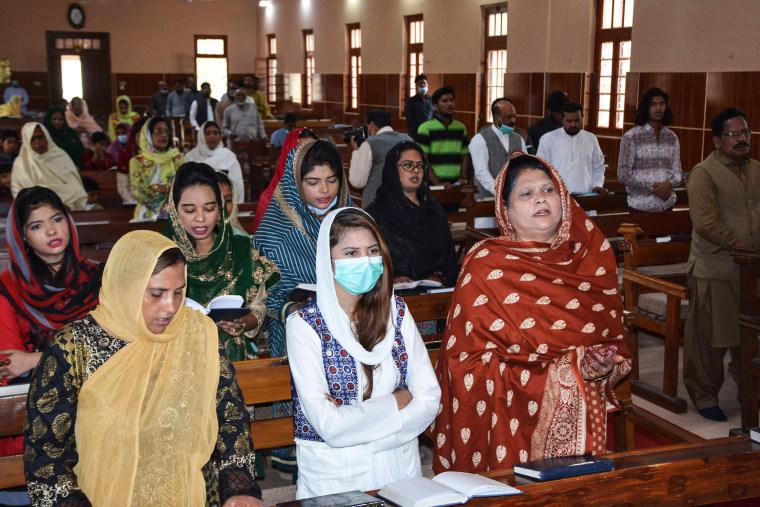 Christians attend an Easter mass at the Bethel Memorial Methodist Church in Quetta, Pakistan.