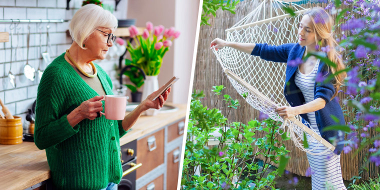 Illustration of older lady in her kitchen, wearing a green cardigan and holding a mug, and a woman hanging hammock in garden wearing a blue cardigan