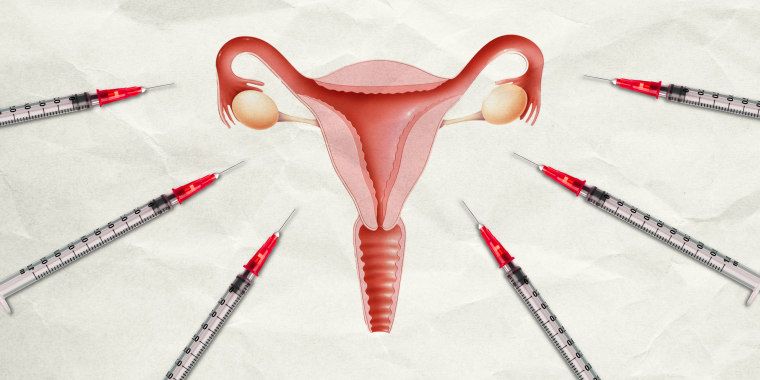Illustration of a female reproductive system on paper with syringes surrounding it.