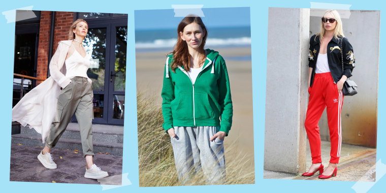Illustration of a Woman walking in street, wearing green joggers a light coat, and white sneakers, a woman at the beach wearing grey joggers and a green sweatshirt and a woman wearing red joggers and heels