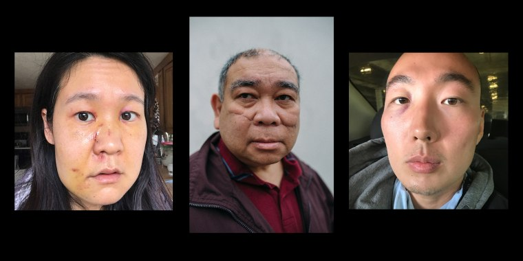 From left to right, Noriko Nasu, Noel Quintana and Denny Kim were all physically attacked in February in three different cities.