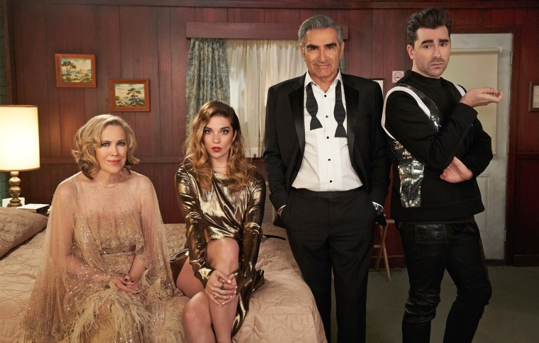 """Moira played by Catherine O'Hara, Alexis played by Annie Murphy, Johnny played by Eugene Levy, and David played by Dan Levy in the final season of """"Schitt's Creek."""""""