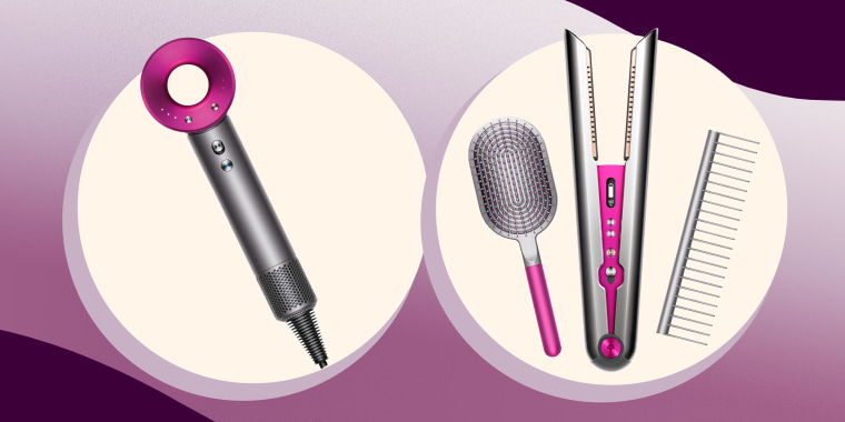 Illustration of the Dyson Straightener, Dyson Blow Dryer, Dyson Comb and the Dyson brush