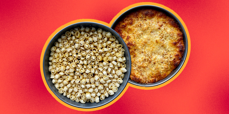 It's a pasta pie, but with … string cheese?