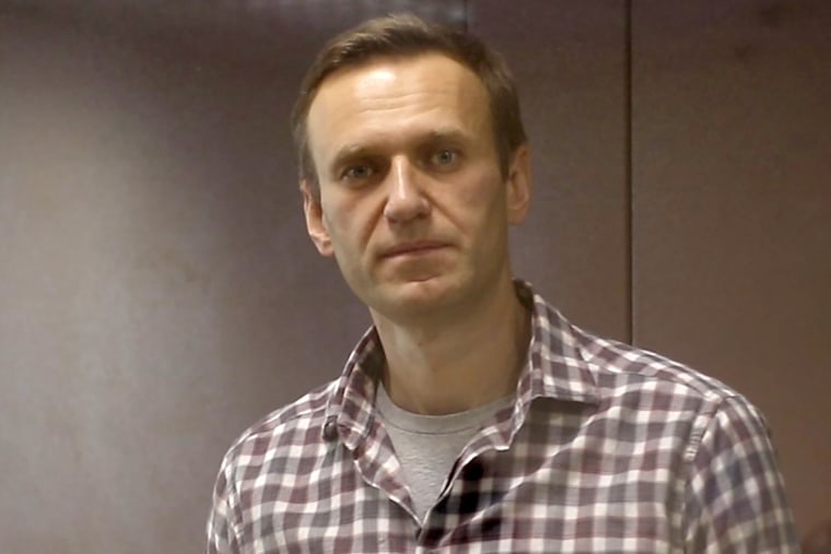 Image:; Russian opposition activist Alexei Navalny during a hearing on Feb. 20, 2021.