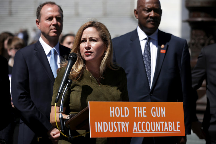 Rep. Debbie Mucarsel-Powell, D-Fla., speaks about the Equal Access to Justice for Victims of Gun Violence Act at the Capitol on June 11, 2019.